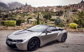 Picture road, the sky, clouds, mountains, grey, overcast, hills, vegetation, BMW, Roadster, settlement, hybrid, 2018, i8, …