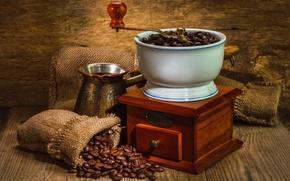 Picture coffee, grain, Turk, coffee grinder