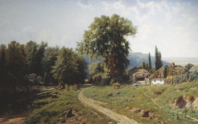 Picture road, trees, lake, house, oil, Canvas, 1884, Farm in the Ukraine, Constantine KRYZHITSKY