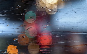 Picture wet, glass, macro, light, bokeh