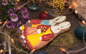 Picture flowers, cookies, Easter, rabbits