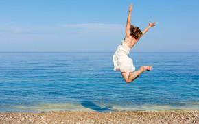 Picture sea, beach, the sky, girl, the sun, joy, mood, jump, dress, horizon, brown hair, in …