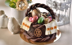 Picture basket, chocolate, eggs, Easter, dessert
