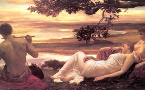 Picture women, river, tree, male, flute, antique, Idyll, Frederic Leighton