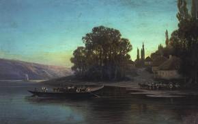 Wallpaper canvas, boat, oil, Petr Sukhodolsky, Night Landscape, crossing, river