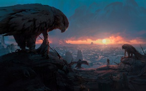 Wallpaper sunset, warriors, Ancient civilizations, rocks, the sun, Pablo Dominguez, birds, people, panorama, glow, dawn, art, ...