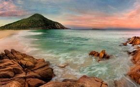 Picture sea, beach, the sky, stones, rocks, coast, mountain, horizon, Australia, Port Stephen