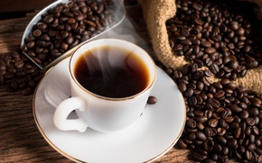 Picture coffee, Cup, hot, coffee beans, cup of coffee