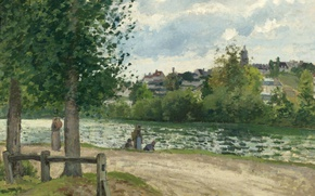 Picture landscape, nature, picture, Camille Pissarro, The banks of the River Oise in PONTOISE