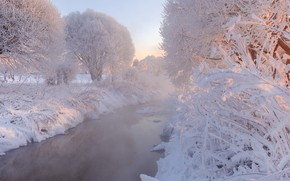 Picture winter, frost, snow, trees, Saint Petersburg, Russia, river, Murinsky Park