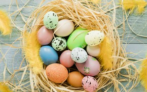 Picture eggs, Easter, straw, Holiday, Socket, Orthodox holiday