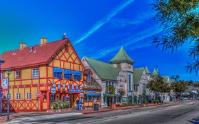 Wallpaper USA, CA, Solvang, the sky, street, home, road, HDR, Sunny