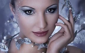 Wallpaper Girl, Look, Pearl, Lips, Style, Eyes, Eyelashes, Background, Shadows, Makeup, Shine