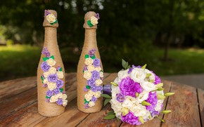 Picture flowers, bottle, wedding