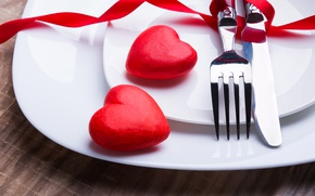 Picture knife, hearts, red, plug, romantic, hearts, Valentine's Day