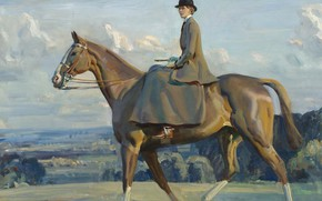 Picture horse, picture, Alfred James Munnings, Alfred James Munnings, Equestrian Portrait Of Lady Barbara Lowther