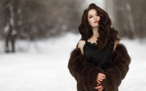 Picture winter, model, hair, coat, Anya, bokeh, Victor Klyuchnikov