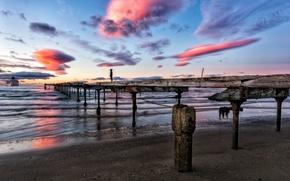 Picture sea, sunset, bridge, ship