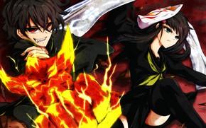 Picture anime, art, pair, two, Sousei no Onmyouji, Banjo, Two stars, Onmedia, Rakudo