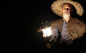 Wallpaper lamp, lantern, fisherman, the old man, Chinese, hat