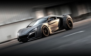 Picture grey, speed, side, in motion, Lykan Hypersport, V Motors Lykan HyperSpord, Arab supercar, V Motors, …