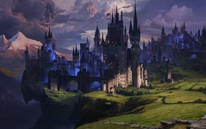 Wallpaper mountains, castle, shadow, tower, Dark Kingdom