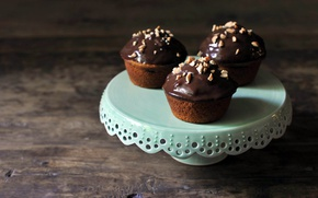 Picture food, chocolate, nuts, cakes, sweet, cupcakes