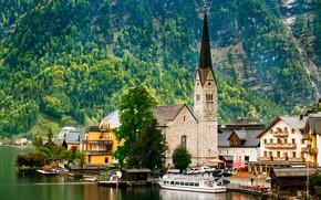 Picture forest, trees, mountains, lake, rocks, watch, tower, home, Austria, boat, Hallstatt, piers, Hallstatt
