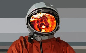Picture fire, astronaut, the suit, costume