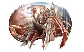 Picture dragon, sword, anime, crown, art, guy