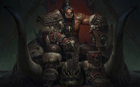 Wallpaper the Warsong, Warcraft, fantasy, weibin tang, Grom·Hellscream, art, Grom Hellscream, Orc