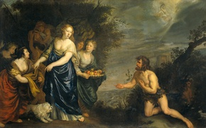 Wallpaper Joachim von Sandrart, Odysseus and Nausicaa, mythology, oil, picture, canvas