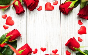 Picture roses, red, love, buds, heart, flowers, romantic, roses, red roses, valentine`s day