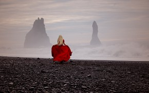 Picture sea, girl, storm, mood, rocks, red dress