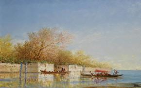 Picture French Gardens, picture, gondola, boat, Felix Ziem, Felix Winters, landscape