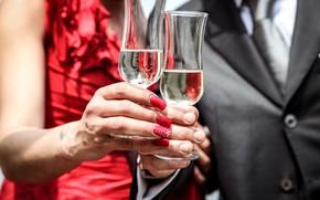 Picture woman, hands, glasses, male, champagne, manicure