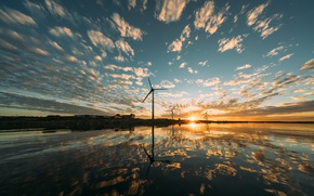 Picture sunset, nature, windmills