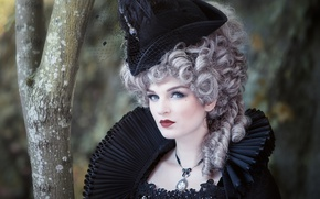 Picture girl, hat, costume, wig