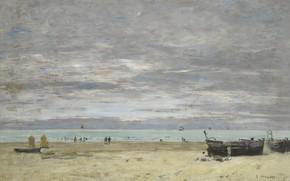 Wallpaper Eugene Boudin, picture, Eugene Boudin, landscape, Boats on the Beach