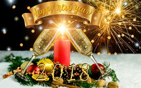 Picture glare, background, fire, holiday, balls, candle, salute, glasses, Christmas, New year, fireworks, nuts, champagne, bumps, …