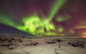 Picture the sky, snow, landscape, night, nature, Northern lights