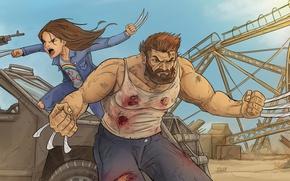 Wallpaper yuusha, cartoon, Logan, machine gun, X-Men, Hugh Jackman, Wolverine, man, cinema, kid, film, Laura, Marvel, ...