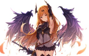 Picture girl, wings, angel, anime, Granblue Fantasy