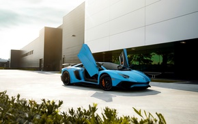 Wallpaper Blue, Aventador, Front, Supercar, Lamborghini, LP750-4