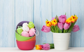 Wallpaper decor, Easter, Easter, tulips, egg, bouquet, holiday, flowers