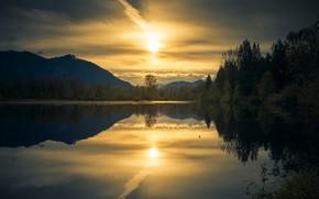 Picture landscape, sunset, nature, lake, reflection