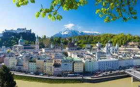 Picture mountains, bridge, river, building, home, Austria, panorama, promenade, Austria, Salzburg, Salzburg, Salzach River, the Salzach ...