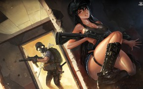 Wallpaper anime, soldiers, girl, santafe99, weapons