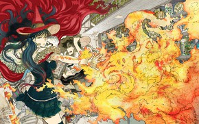 Picture girl, fire, anime, art, Witch Craft Works