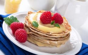 Wallpaper berries, raspberry, honey, pancakes, pancakes